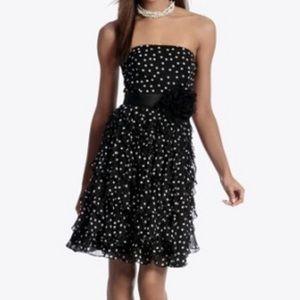 WHBM black Polka Dot ruffle strapless dress 14